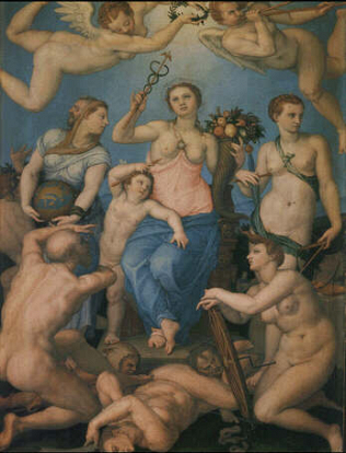 Allegory of Happiness - Agnolo Bronzino (Oil on copper, 40x30)