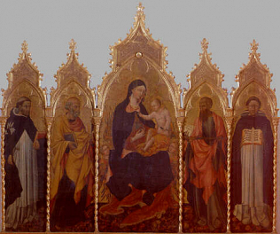 Madonna and Child with Saints - Giovanni di Paolo (Tempera on wood, 247x212)