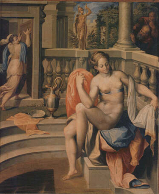 Susanna Bathing - Orazio Samacchini (Oil on wood, 34.5x29)