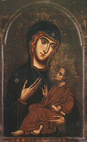 Madonna and child - Florentine artist of the mid - 13th dentury (Tempera on wood, 98x60)