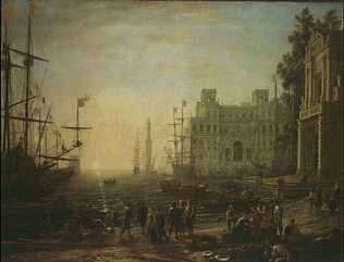 Harbour with Villa Medici - Claude Gellée called Lorrain (Oil on canvas, 102x133)