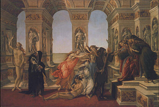 Calumny - Sandro Filipepi called Botticelli (Tempera on wood, 62x91)