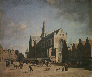The Groote Markt in Haarlem - Gerrit Berckheyde (Oil on canvas, 54x64)