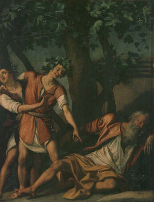 Drunkenness of Noah - Jacopo Chimenti called Empoli (Oil on copper, 31x25)