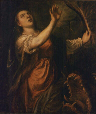 Saint Margaret - Tiziano Vecellio called Titian and assistants (Oil on canvas, 116.5x98)