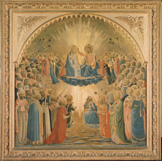 Coronation of the Virgin - Fra Angelico (Tempera on wood, 112x114)
