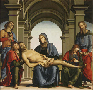 Pietà - Pietro Vannucci called Perugino (Tempera on wood, 168x176)