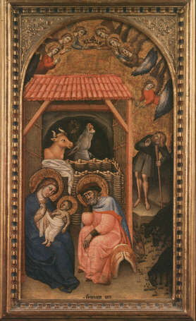 Nativity - Simone dei Crocifissi (Tempera on wood, 25x47)