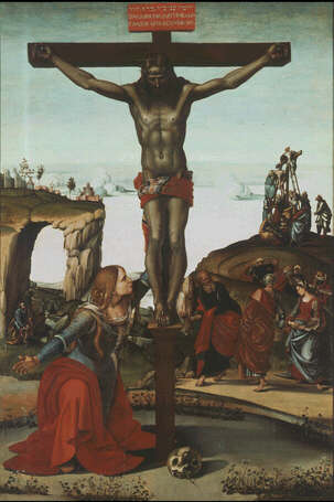 Crucifix with Maria Magdalen - Luca Signorelli (Tempera on canvas, 247x165)