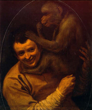 A Man with a Monkey - Annibale Carracci (Oil on canvas, 68x58.3)