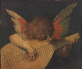 Musical Angel - Giovan Battista di Jacopo called Rosso Fiorentino (Tempera on wood, 47x39)
