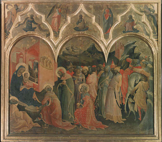 Adoration of the Magi - Lorenzo Monaco and Cosimo Rosselli (Tempera on wood, 115x70)