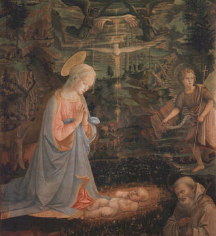 Adoration of the Child with Saints - Filippo Lippi (Tempera on wood, 140x130)