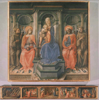 Madonna and Child with Four Saints - Filippo Lippi (Tempera on wood, 196x196)