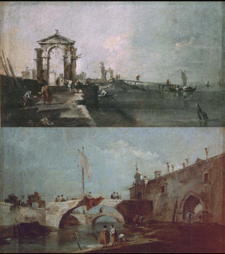 Seascape with Arch - Francesco Guardi (Oil on canvas, 30x53)