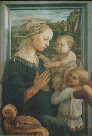 Madonna and Child with two angels - Filippo Lippi (Tempera on wood, 95x62)