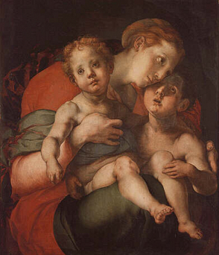 Madonna and Child with the Young Saint John - Jacopo Carrucci called Pontormo (Tempera on wood, 89x74)