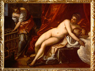 Leda and the Swan - Jacopo Robusti called Tintoretto (Oil on canvas, 162x218)