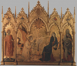 Annunciation and Two Saints. - Simone Martini and Lippo Memmi (Tempera on wood, 184x210)