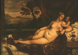 Venus and Cupid - Tiziano Vecellio called Titian (Oil on canvas, 139.5x195.5)