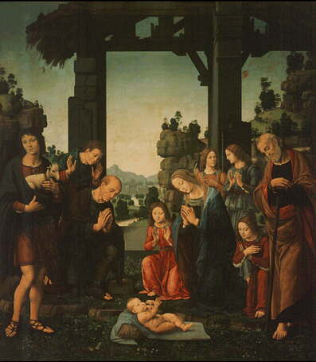Adoration of the Shepherds - Lorenzo di Credi (Tempera on wood, 224x196)