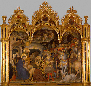 Adoration of the Magi - Gentile da Fabriano (Tempera on wood, 300x282 (overall including frame), 173x288 (central panel only))