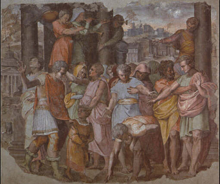 Tarquinius Superbus Founds the Temple of Jove on the Capitol - Pietro Bonaccorsi called Perin del Vaga (Fresco transferred tocanvas, 132x150)