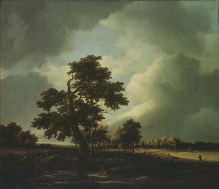 Landscape with Shepherds and Peasants - Jakob van Ruysdael (Oil on canvas, 52x60)