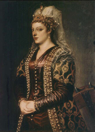 Portrait of Caterina Coronaro as Saint Catherine of Alexandria - Tiziano Vecellio called Titian (Oil on canvas, 102.5x72)