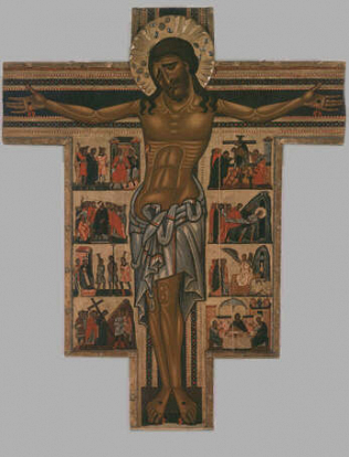 Crucifix with eight stories from the Passion - Master of the Bardi Saint Francis (Tempera on wood, 250x200)