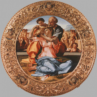 Holy Family (Tondo Doni) - Michelangelo Buonarroti (Tempera on wood, diam. 120)